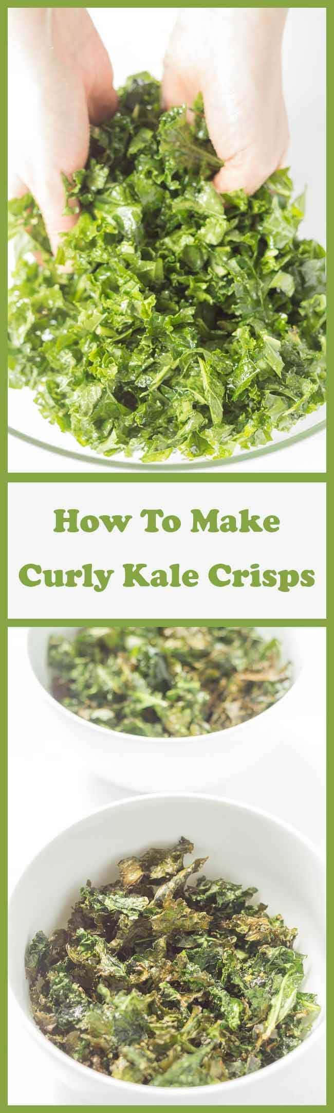 Curly kale crisps make an ideal quick healthy snack recipe. Here I show you how to make curly kale crisps in just 15 minutes. All that's needed is 200g curly kale, 1 tbsp. olive oil and a little salt to season. You'll love this easy light and crispy savoury delight!