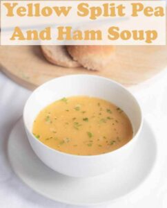 Yellow split pea and ham soup is a delicious and rich tasting low cost family staple. This easy recipe makes 8 portions so there's plenty to freeze too! #neilshealthymeals #recipe #splitpea #ham #splitpeasoup
