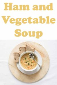 This tasty healthy ham and vegetable soup is packed full of nutrition. It's an easy to makehearty soup recipe that makes 6 to 8 portions. It freezes well too. #neilshealthymeals #recipe #soup #hamsoup #vegetablesoup