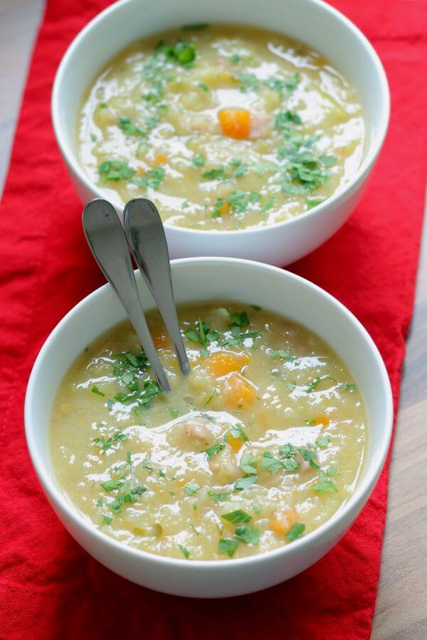 This tasty ham and vegetable soup is packed full of nutrition. It's a hearty healthy soup that makes 6 to 8 portions and it's ideal for freezing too.