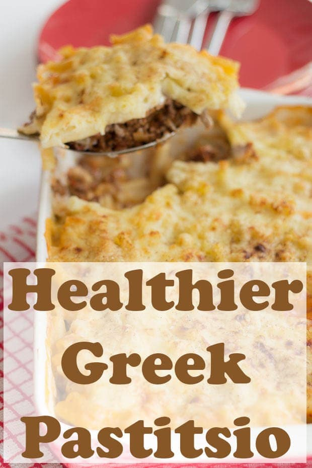 This healthier Greek Pastitsio is my reduced fat, reduced calorie re-make of the full fat original recipe. Made with a lower fat cheese sauce but still packed with protein from the ground beef. A quick healthy pasta bake meal ready in one hour! #neilshealthymeals #recipe #pastitsio