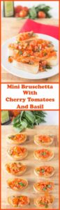 Mini bruschetta with cherry tomatoes and basil makes for a quick, delicious and easy to make starter, lunch or snack. This is a brilliant cheap and healthy traditional recipe that you'll just love!