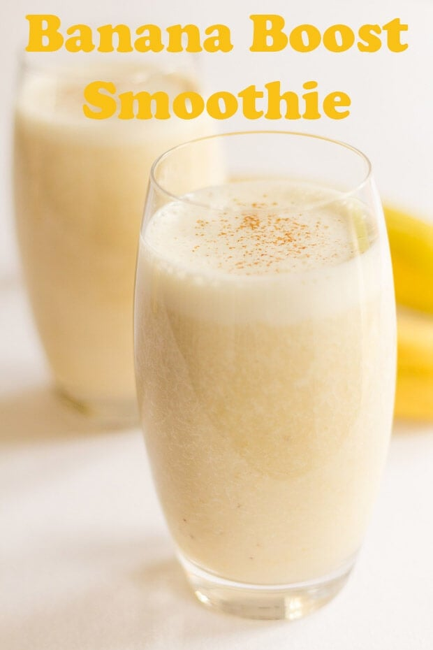 Banana boost smoothie is a delicious quick and easy banana smoothie recipe which will give you such a great start to the day. Just 4 ingredients and a vegan option too it's a great instant energy booster. Plus it's only 378 calories per serving so a great aid to weightloss! #neilshealthymeals #recipe #breakfast #banana #bananasmoothie #smoothie #healthysmoothie #weightloss