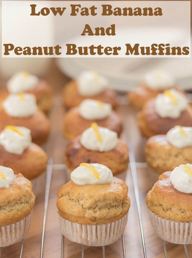 Low fat banana peanut butter muffins. Delicious easy healthier muffins. Peanut butter and banana lovers and not to mention kids will crave this recipe! Even more so at only 184 calories per muffin! #neilshealthymeals #recipe #healthy #bananamuffins #banana #peanutbutter