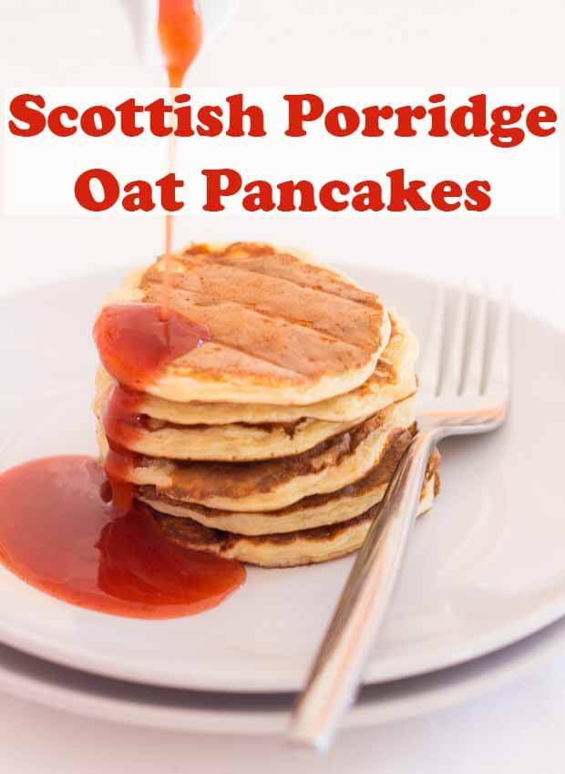 This Scottish porridge oat pancakes recipe makes for a fantastic healthy start to the day. It's easy to make and the pancakes are delightfully fluffy and they're only 43 calories each too! #neilshealthymeals #recipe #pancakes #scottish #porridge