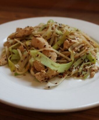 A plate of stir fried sesame chicken leek and noodles.
