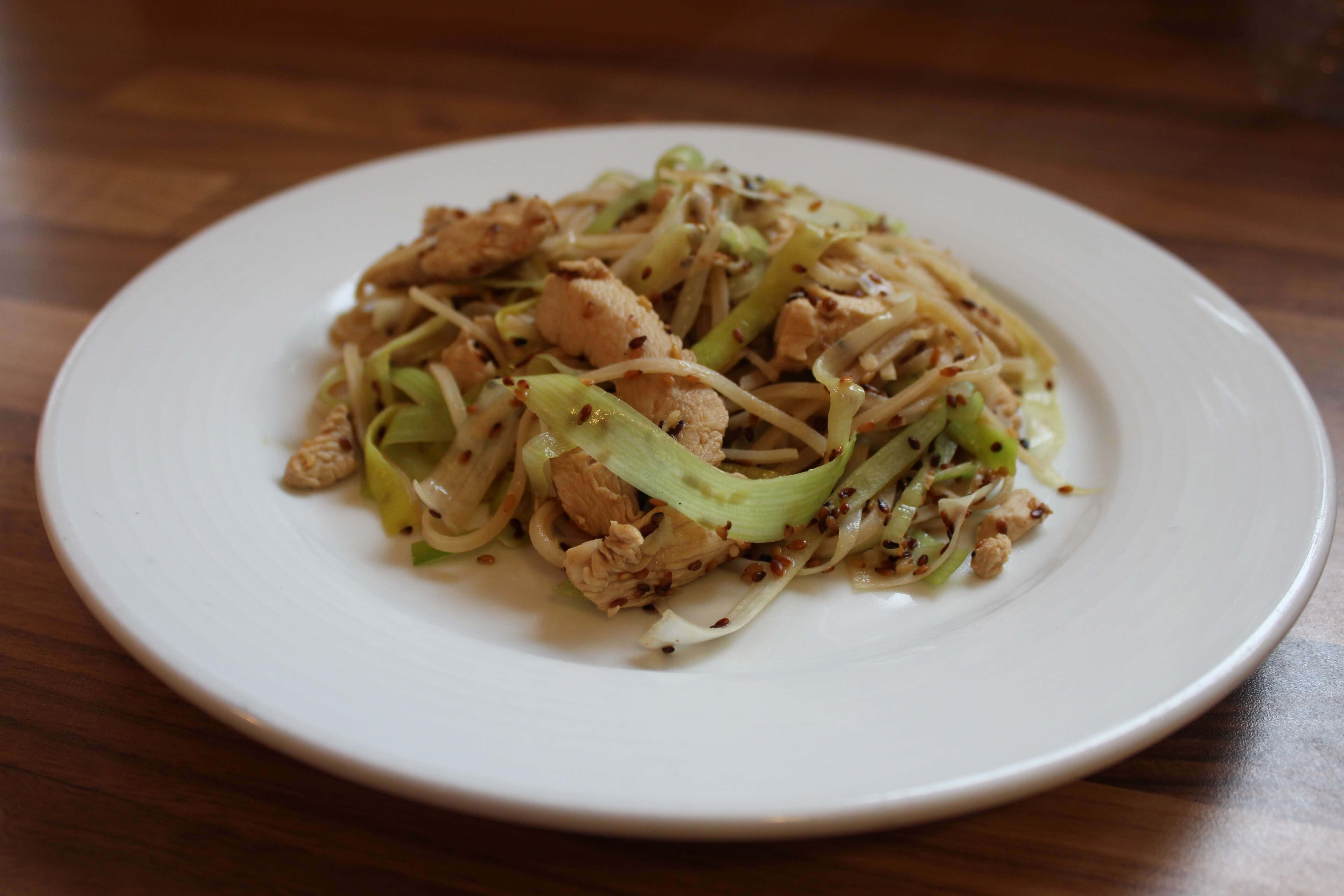 Stir fried sesame chicken, leek and noodles is a really quick and easy to prepare meal. Marinating the chicken first adds to the flavour and prevents it drying out during cooking.