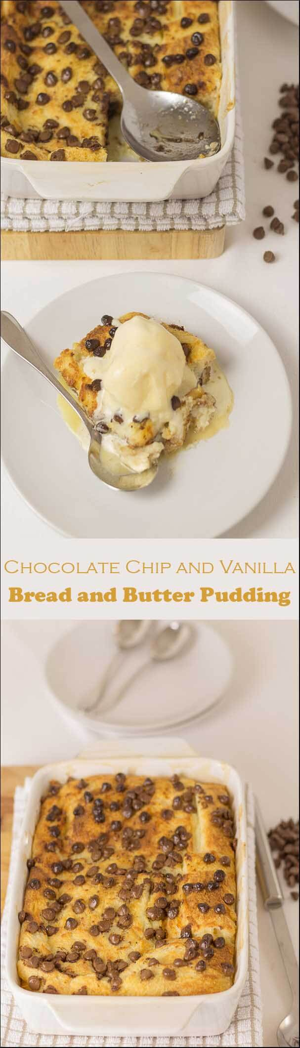Chocolate chip and vanilla bread and butter pudding is just chocolate pudding heaven! It's bread and butter pudding with an indulgent twist and it's pretty simple to make too!
