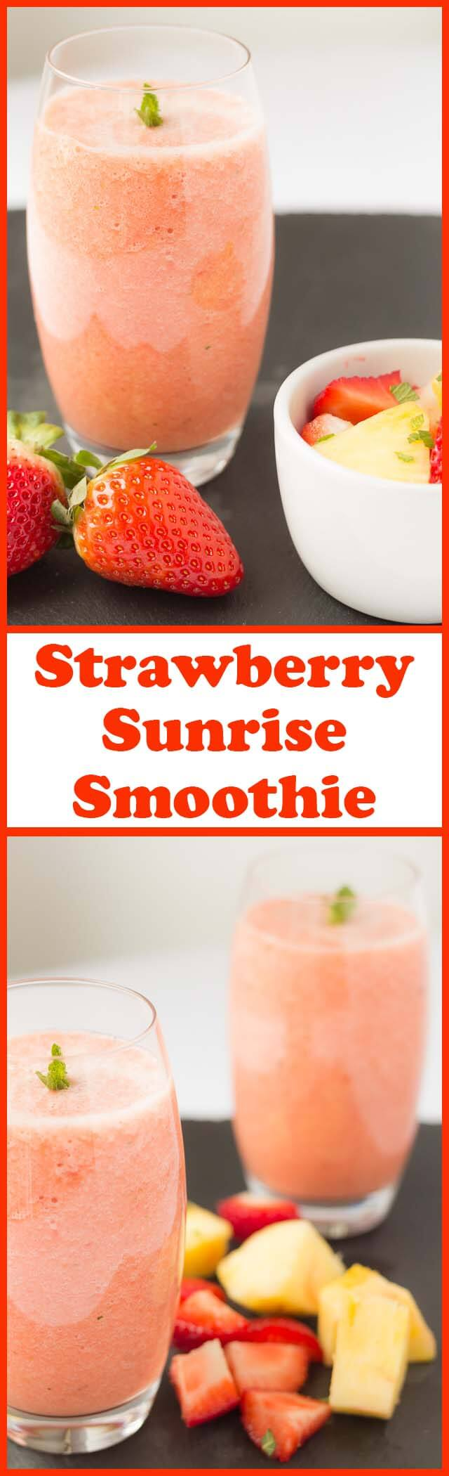 This strawberry sunrise smoothie will give you that energy boost you need to help wake you up in the morning. Nutritious, delicious and packed full of vitamin C its sure to give you that extra glow!