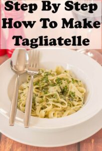 A bowl of home made tagliatelle. Pin title text overlay at top.