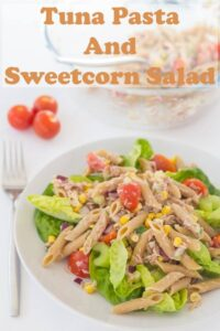 This tuna pasta and sweetcorn salad makes for a perfect quick healthy meal. Made with a creamy low calorie dressing and packed with delicious fresh salad ingredients its also great as a packed lunch option too. #neilshealthymeals #recipe #tuna #pasta #sweetcorn #salad #lowcalorie #lunch #dinner