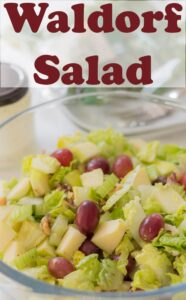 A bowl of Waldorf salad. Pin title at the top.