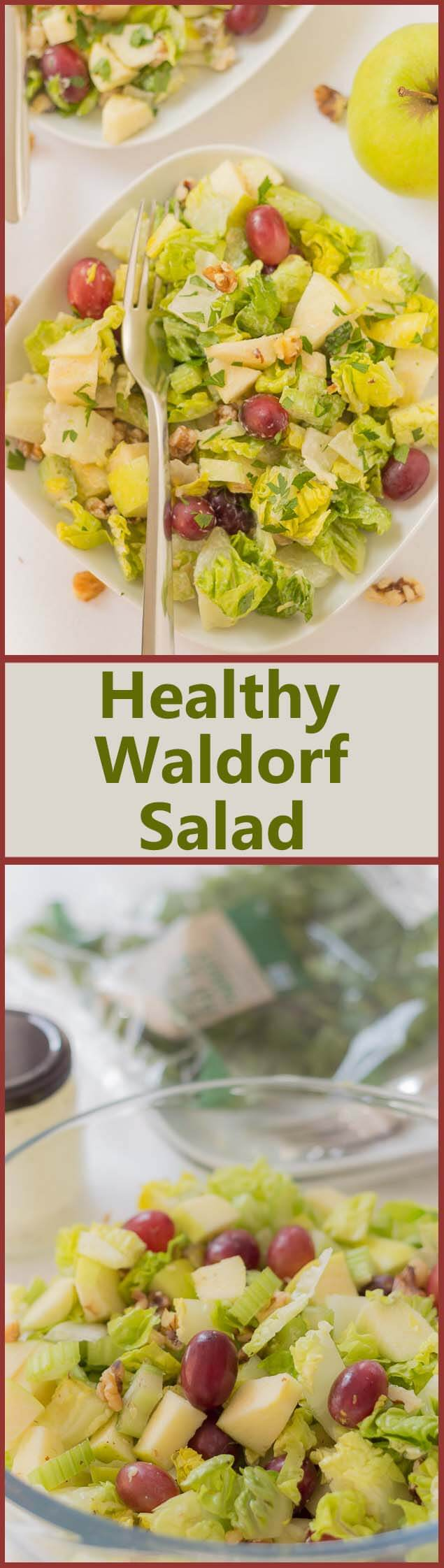 Classic Waldorf salad, made with a reduced fat, reduced calorie dressing. Easy and quick to make up in the morning and perfect as a packed lunch or as a light healthy snack.