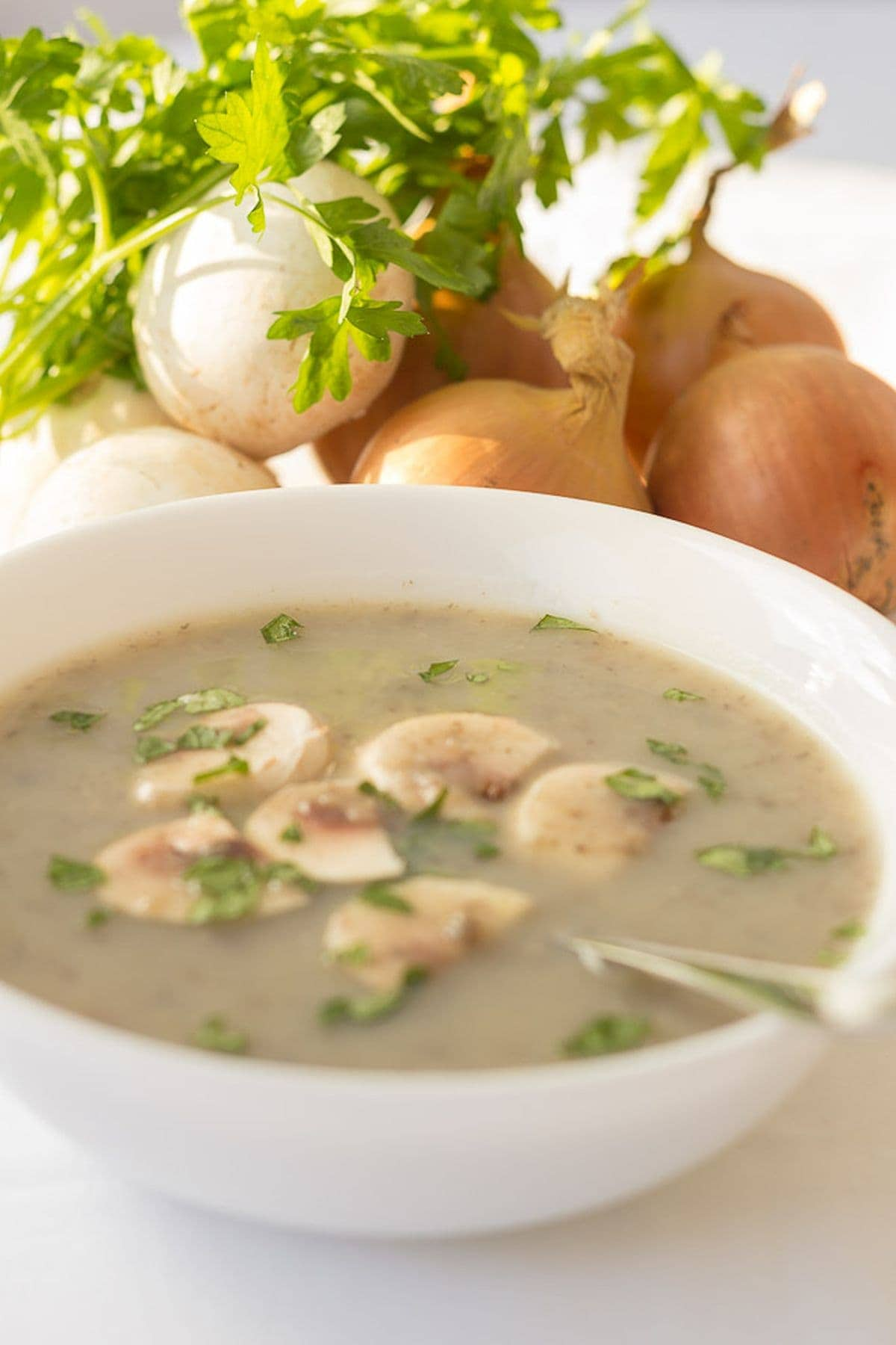 A bowl of creamy mushroom soup without the cream. Garnished with chopped mushroom and parlsey.