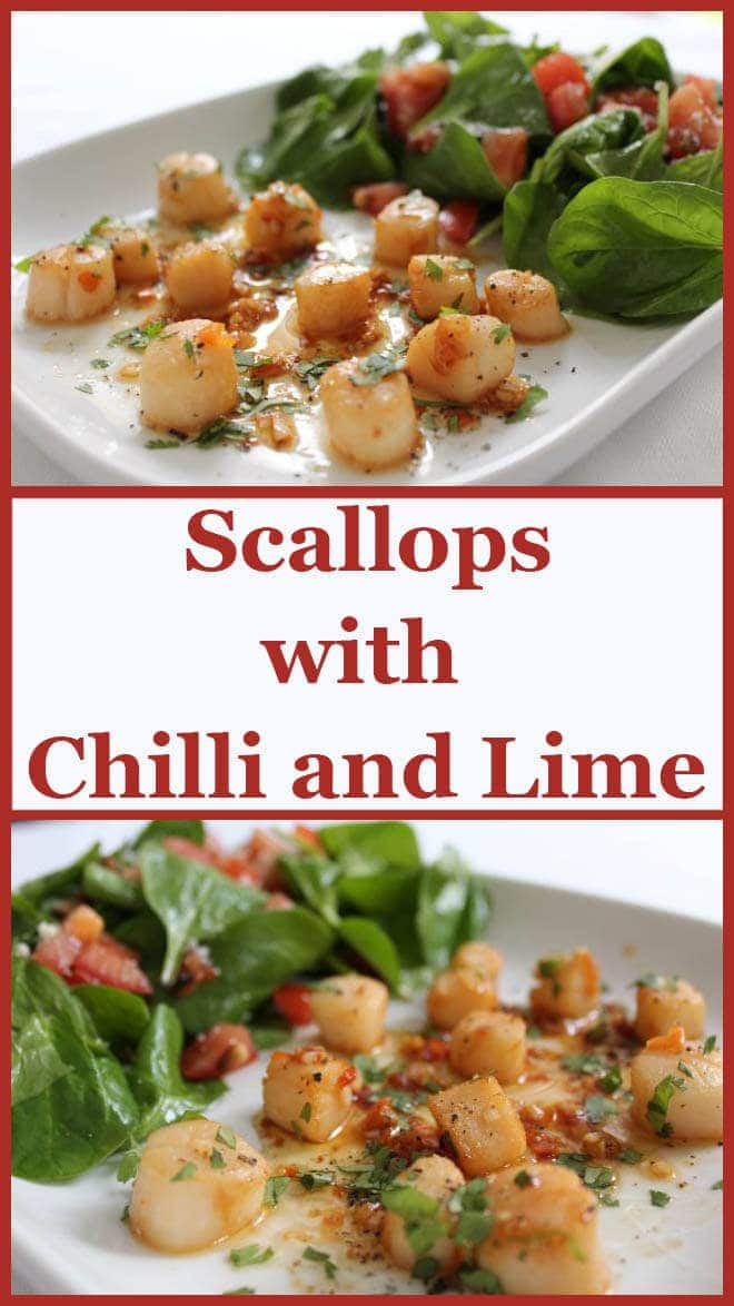 Scallops with chilli and lime recipe is a delicious and quick dish ideal as a starter or main and can be put together and on the table in literally 20 minutes!#neilshealthymeals #recipe #starter #scallops #finedining