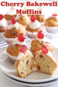 These cherry bakewell muffins are simply fabulous! With a light fluffy texture, a delicious icing topping and a sweet cherry to top, they're my take on the classic bakewell tart. If you love those, try these, plus they won't affect your waistline as much being only 200 calories each! #neilshealthymeals #recipe #cherry #bakewell #muffins