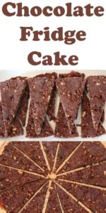 Two pictures of chocolate fridge cake. Pin title text overlay at top.