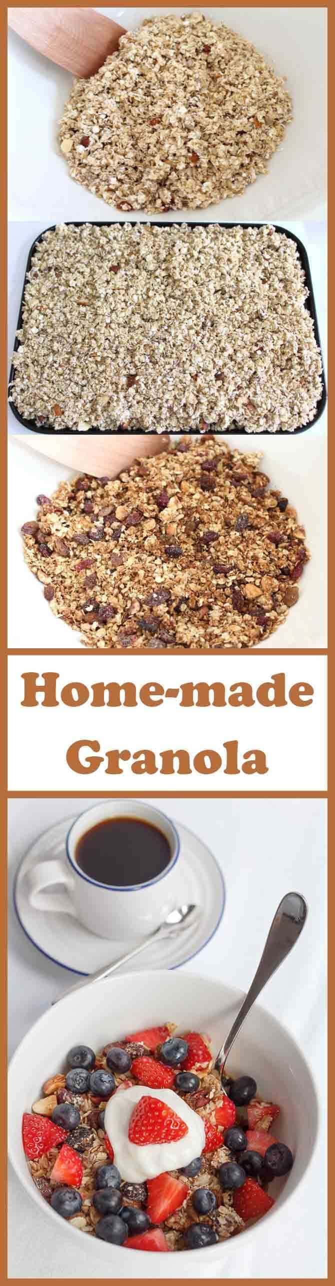This healthy home-made granola is so easy to make. There's only 222 calories per portion and with 8 portions there's plenty to last you all week. It's delicious with skimmed milk or Greek yogurt, topped with strawberries or blueberries!