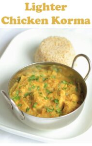 This fantastic lighter chicken korma recipe is perfect for those of us watching our waistlines! It's a healthy chicken korma Indian curry recipe. At just over 300 calories per portion, it doesn't contain any cream. Instead it's made with yogurt. But it does contain the same delicious creamy taste and all those amazing spices too. #neilshealthymeals #recipe #healthy #chicken #curry