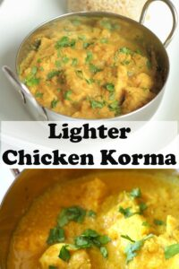 Two pictures of balti dishes of lighter chicken korma. Pin title text overlay in between.