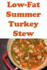 Low fat summer turkey stew is an easy to prepare and healthy one pot family recipe. This one hour low carb recipe is perfect for using up turkey leftovers! #neilshealthymeals #recipe #turkey #turkeycasserole #turkeystew