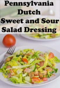 Two plates of turkey bacon salads with Pennsylvania Dutch Sweet and Sour Salad Dressing poured over. Pin title text overlay at top.