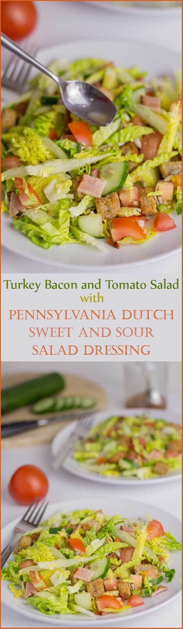 This turkey bacon and tomato salad is a delicious and easy, tasty, lunch or dinner salad option with a unique Pennsylvania Dutch sweet and sour salad dressing.