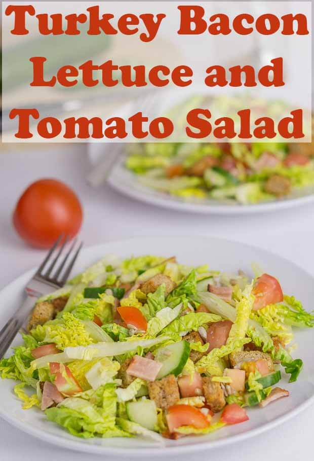 This turkey bacon and tomato salad is a delicious and easy, tasty, lunch or dinner salad option with a unique Pennsylvania Dutch sweet and sour salad dressing. #neilshealthymeals #recipe #turkeybacon #tomatosalad #pennsylvaniadressing
