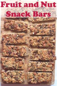 These fruit and nut snack bars are tasty, chewy and crammed full of fruits, nuts and seeds and made with delicious honey. Taking less than an hour to make they make a great healthy snack and energy boost in between meals at only 200 calories each! #neilshealthymeals #recipe #healthy #fruit #nut #snackbars