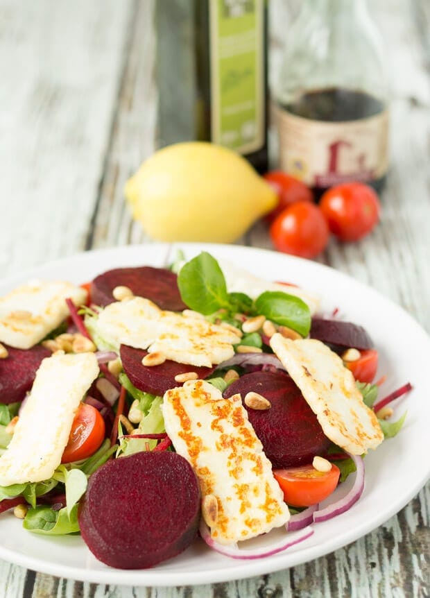 Halloumi and beetroot salad is a perfect delicious lunch or light dinner option. It's less than 300 calories and it's also quick and easy to make.