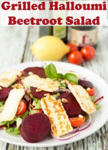 A plate of grilled halloumi and beetroot salad. Pin title text overlay at top.