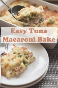 Tuna macaroni bake. This is a simple, tasty and low cost family dish for four. A perfect weeknight quick healthy meal served with a simple side salad. #neilshealthymeals #recipe #tuna #pasta #bake