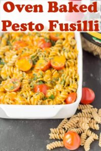 Oven baked whole wheat pesto fusilli is just a perfect recipe if you're looking for a quick healthy meal. It's just an easy simple pesto sauce combined with healthy whole grain pasta and juicy tomatoes to give you a unique taste of the Mediterranean! #neilshealthymeals #recipe #pesto #fusilli