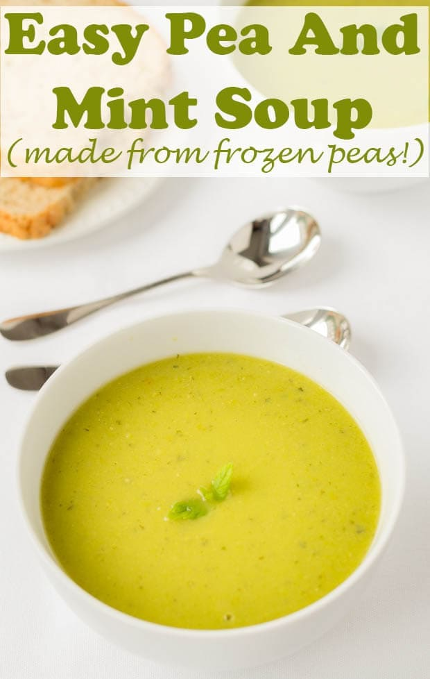 Healthy pea and mint soup. Quick, easy and cheap to make as it's made from frozen peas. This is a deliciously creamy gluten free and vegan frozen pea soup recipe with recipe video. The fresh mint adds such as clean taste to this excellent, simple lunch time staple. #neilshealthymeals #recipe #peasoup #peaandmintsoup #vegan #glutenfree