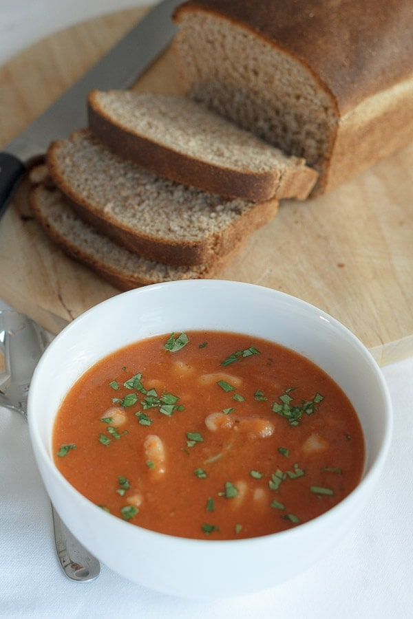 You'll find this low calorie tomato and white bean soup extremely filling and rich in flavour. Not only is it full of essential daily vitamins and minerals, but it's also versatile enough for you to make it your own, by using any kind of tinned beans you want with the same tomato base!