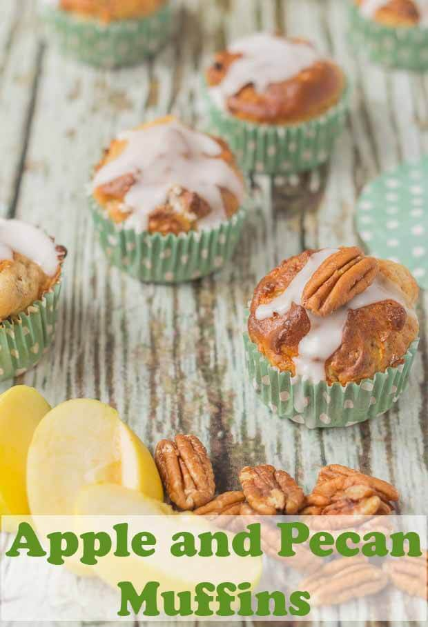 These scrumptious apple and pecan muffins have a light and moist texture and are sweet to taste. They have a little cinnamon sugar crunchy topping but are only 173 calories each! #neilshealthymeals #recipe #apple #pecan #muffins