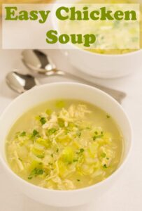 This easy chicken soup recipe is a great quick healthy recipe to put together if you don't have the luxury of left over chicken lying about. Perfect for soothing colds, tt's made from just one chicken breast, leek, onion, rice and stock. It's as simple as that. Tastes delicious and is only 234 calories per serving too! #neilshealthymeals #recipe #soup #chicken #soup #chickensoup