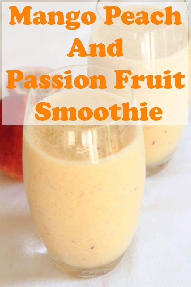A superbly simple, mango, peach and passion fruit smoothie. Deliciously creamy tasting, healthy and packed with nourishing wholesome ingredients. So refreshing and perfect as a pick me up at any time, as a snack, or just a great healthy start your day! #neilshealthymeals #recipe #smoothie #mango #peach