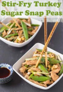 Stir fry turkey with sugar snap peas is a recipe you'll just love. It's healthy, low carb and quick and easy to prepare too. A perfect weeknight dinner for two in just 40 minutes! #neilshealthymeals #recipe #stirfry #stirfryturkey