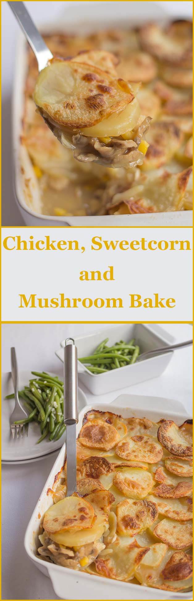 This chicken sweetcorn and mushroom bake is a delicious, nice and easy family bake. The recipe also includes my French style green beans side making this a great weekday meal.