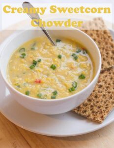 This delicious creamy sweetcorn chowder is low cost, low calorie and easy to put together and make in 30 minutes. Suitable for vegans, paleo and glutenfree too its absolutely perfect for all for a cold winters day! #neilshealthymeals #recipe #soup #sweetcorn #chowder #healthy #vegan #paleo#glutenfree