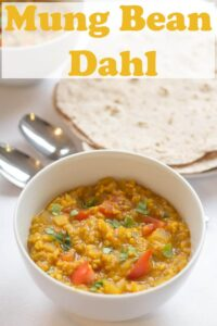 This Mung Bean (Moong Dall) Dahl is an absolutely delicious curry recipe. Vegan and packed with beautiful tasting spices that tantalise the taste buds, it's a perfect quick healthy meal coming in at only 259 calories per serving. #neilshealthymeals #recipe #mungbean #curry