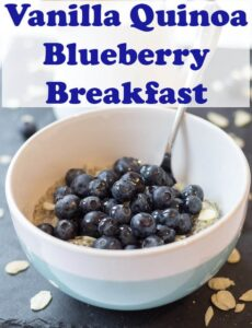 Gluten free and nutty tasting, this vanilla quinoa and blueberry breakfast makes for a delicious packed with protein healthy alternative to traditional oatmeal! #neilshealthymeals #recipe #breakfast #quinoa