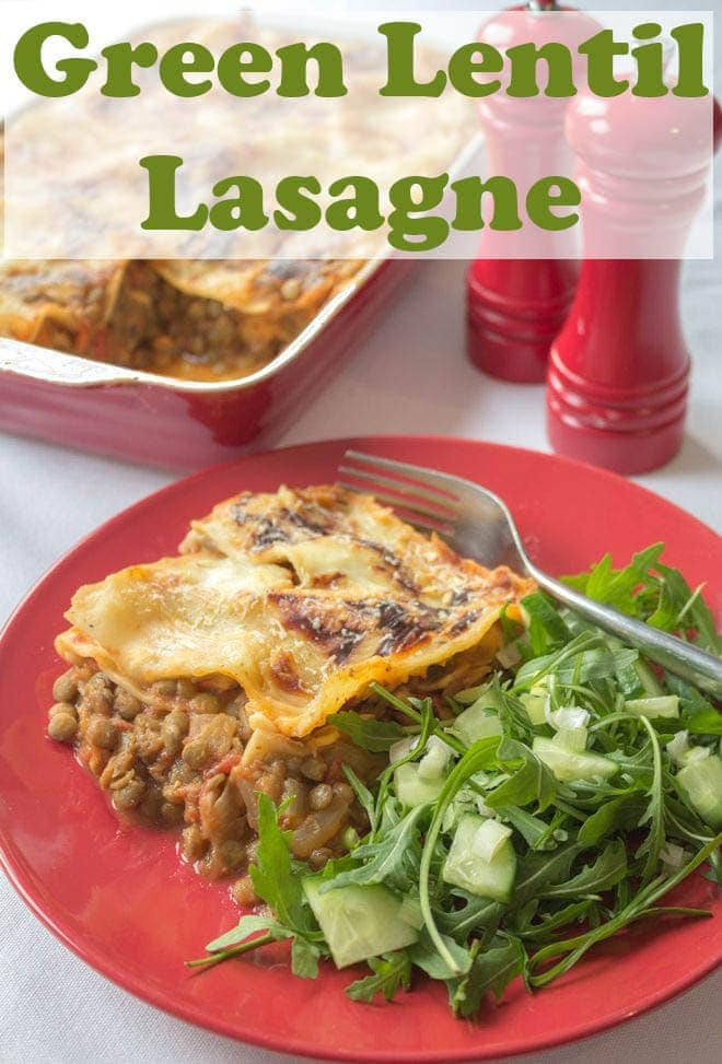 This green lentil lasagne is an extremely tasty meat free vegetarian lentil lasagne family recipe. With a delicious melted mozzarella filling within and a rich tasty melted cheese bechamel sauce on top (both reduced fat), this lentil lasagne is amazing! #neilshealthymeals #recipe #greenlentil #lasagne