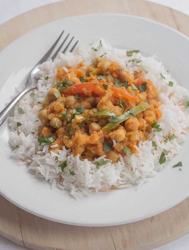 This tasty vegan healthy chickpea curry is low cost, low calorie and extremely filling! One portion alone provides nearly three quarters of your daily recommended dietary fibre recommendation.