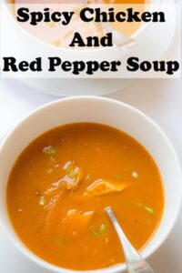 This amazing spicy chicken and red pepper soup gives you all your recommended daily intake of vitamin A and vitamin C in just one bowl. Warming, sweet and of a creamy texture this is a comforting easy healthy recipe guaranteed to make you smile! #neilshealthymeals #recipe #soup #chicken #redpepper
