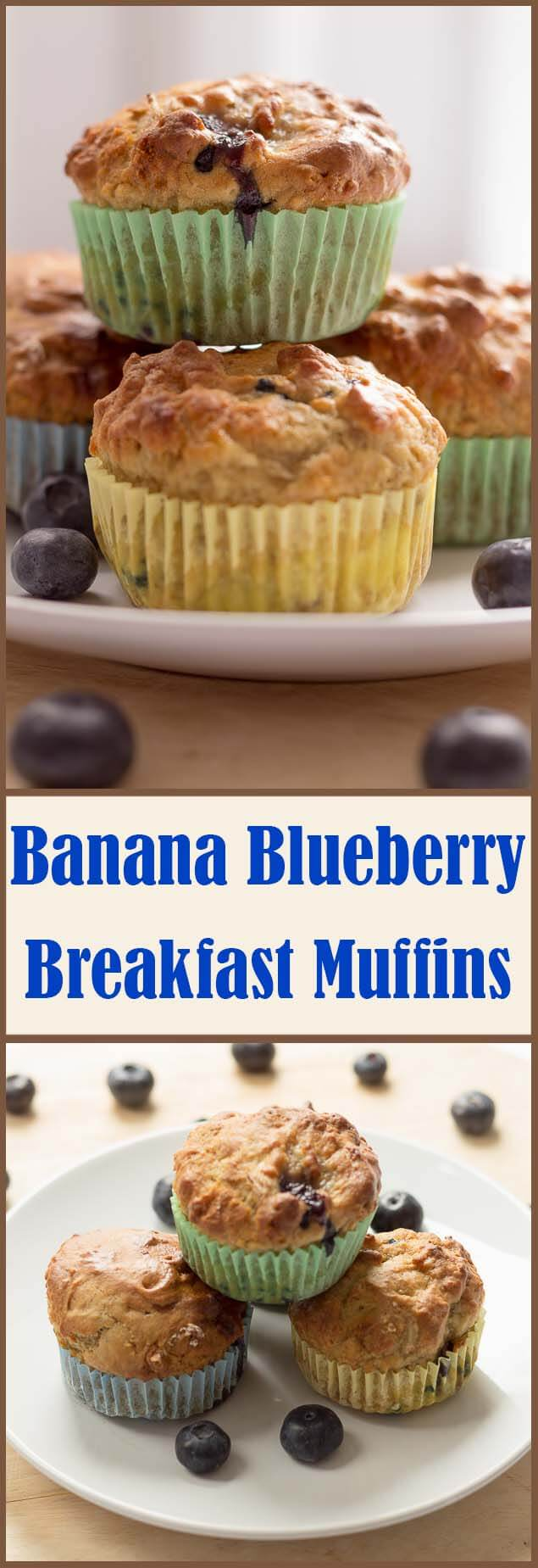 Banana blueberry breakfast muffins. Say hello and good morning to these healthier, delicious breakfast muffins. Make your start to the day a good one!