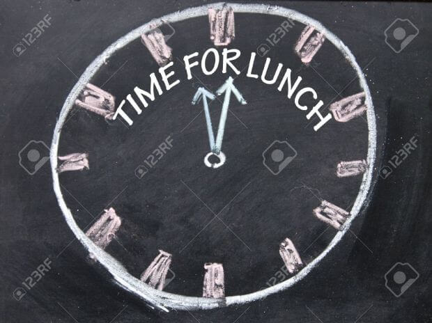 Keep to meal times. Clock showing time for lunch.