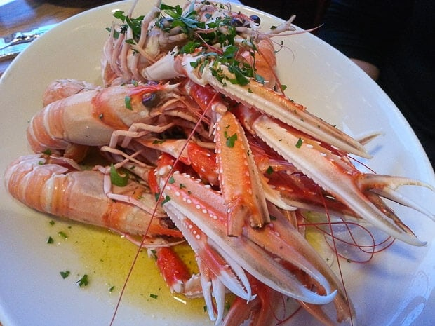 Mallaig langoustines with garlic and herb butter salad and sauted potatoes