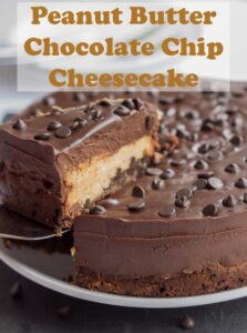 This peanut butter chocolate chip cheesecake is a piece of heaven. Indulgent, sweet and creamy. A mouthwatering chocolate biscuit base topped with delicious chocolate chips and peanut butter then finished with a velvety chocolate ganache! #neilshealthymeals #recipe #dessert #cheesecake #peanutbutter #chocolatechip